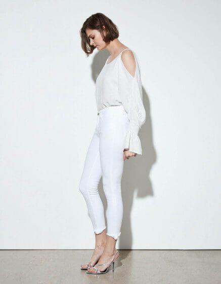 pantalones vaqueros pitillo blancos